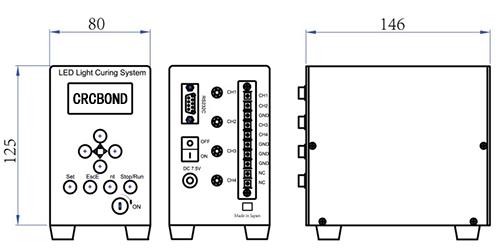 4通道UVLED点光源控制主机尺寸图